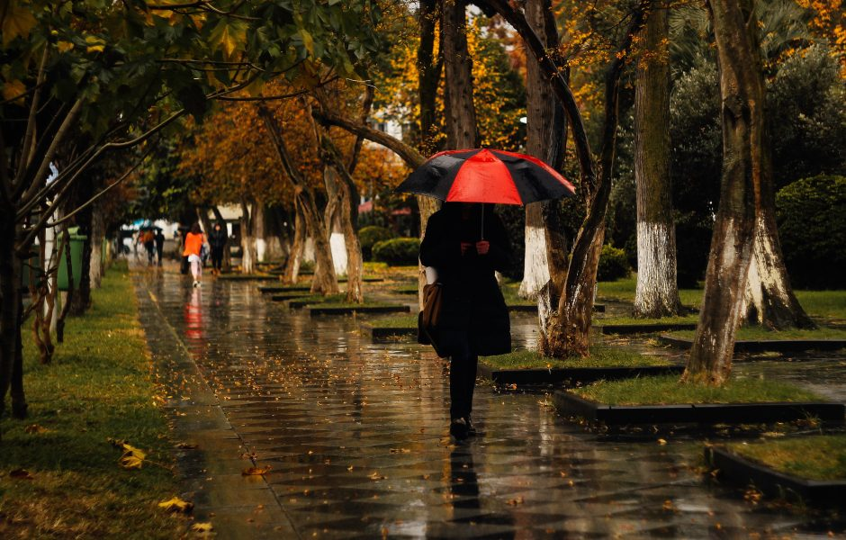 lady with umbrella walking in the rain